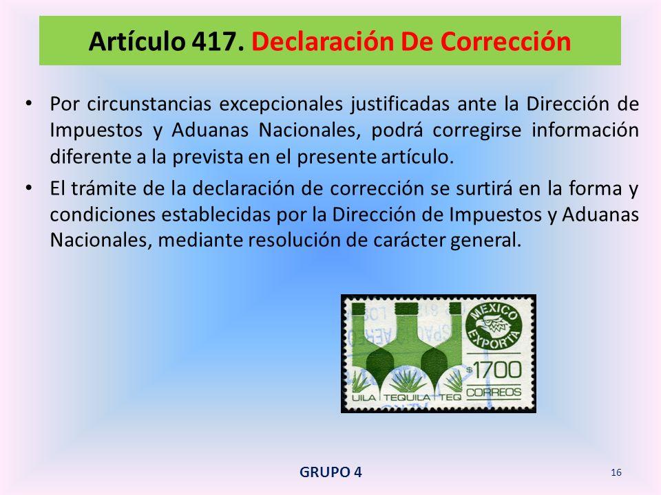 Artículo 417. Declaración De Corrección