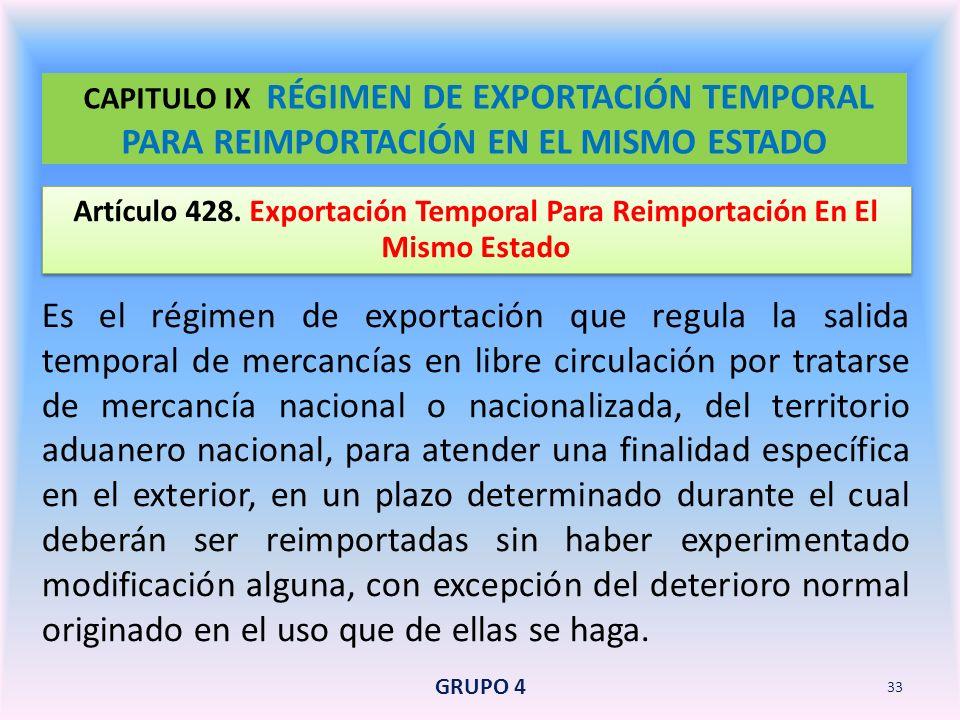 CAPITULO IX RÉGIMEN DE EXPORTACIÓN TEMPORAL PARA REIMPORTACIÓN EN EL MISMO ESTADO