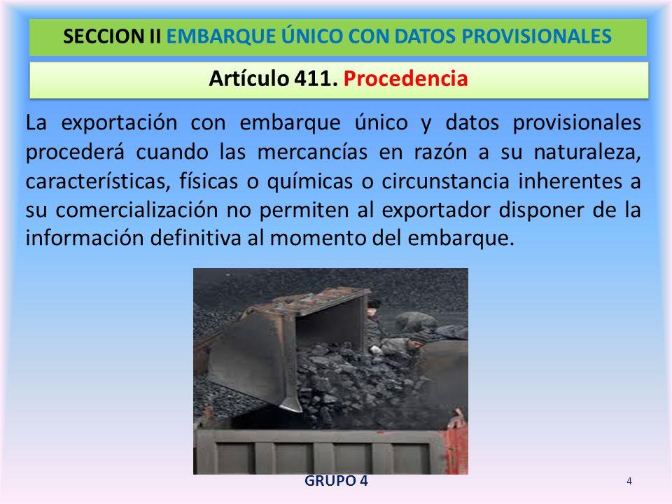 SECCION II EMBARQUE ÚNICO CON DATOS PROVISIONALES
