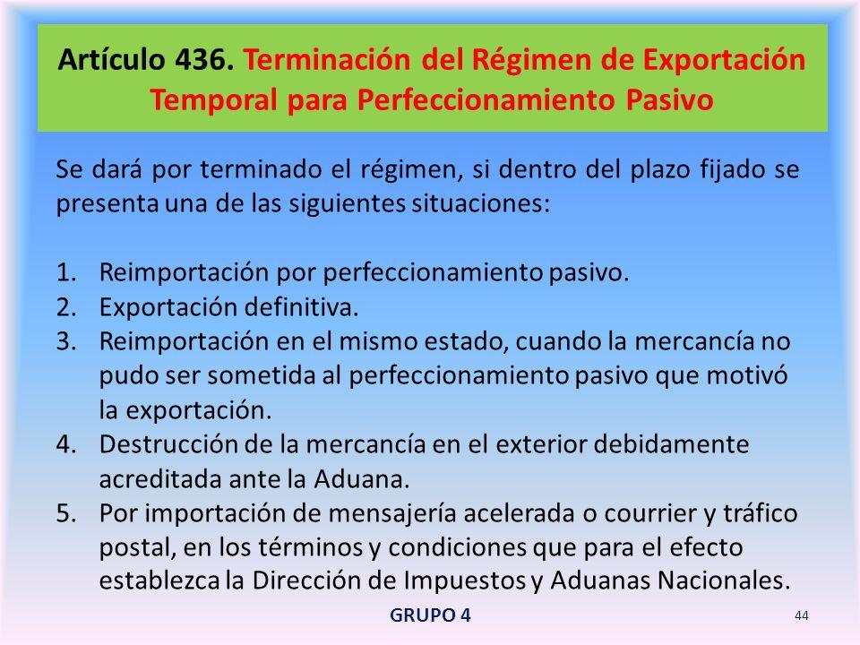 Artículo 436. Terminación del Régimen de Exportación Temporal para Perfeccionamiento Pasivo