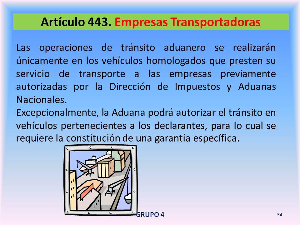 Artículo 443. Empresas Transportadoras