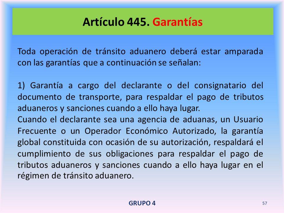 Artículo 445. Garantías Toda operación de tránsito aduanero deberá estar amparada con las garantías que a continuación se señalan: