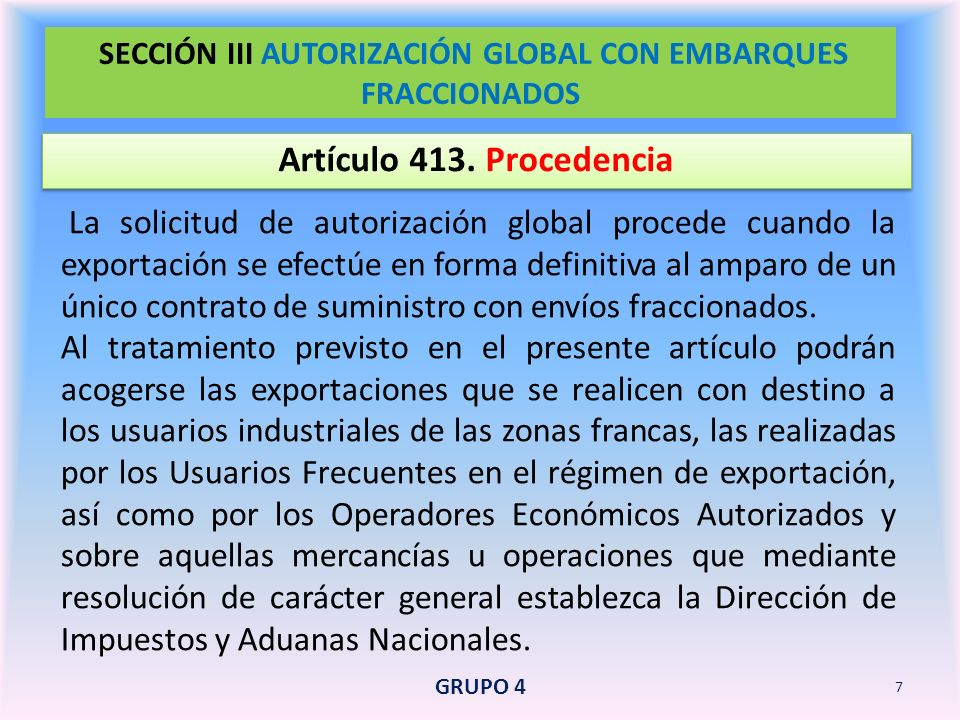 SECCIÓN III AUTORIZACIÓN GLOBAL CON EMBARQUES FRACCIONADOS