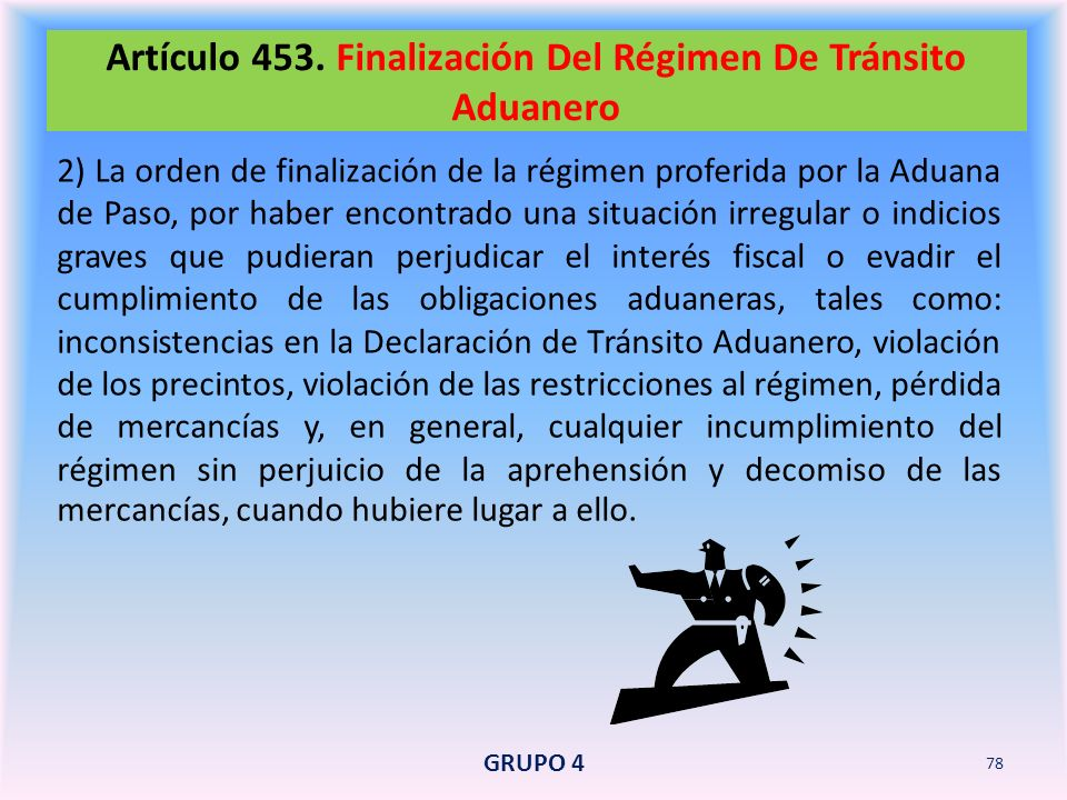 Artículo 453. Finalización Del Régimen De Tránsito Aduanero