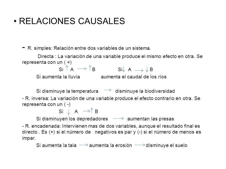 - R. simples: Relación entre dos variables de un sistema.