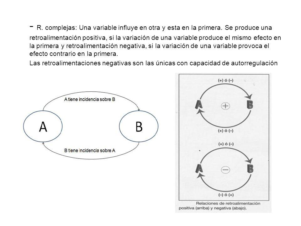 - R. complejas: Una variable influye en otra y esta en la primera