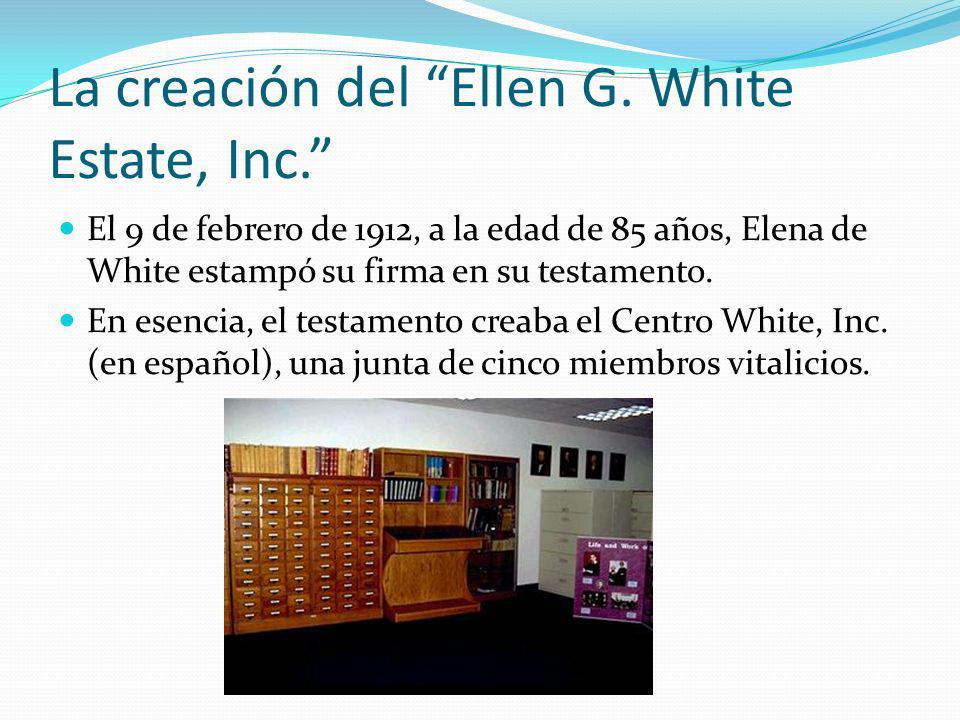 La creación del Ellen G. White Estate, Inc.