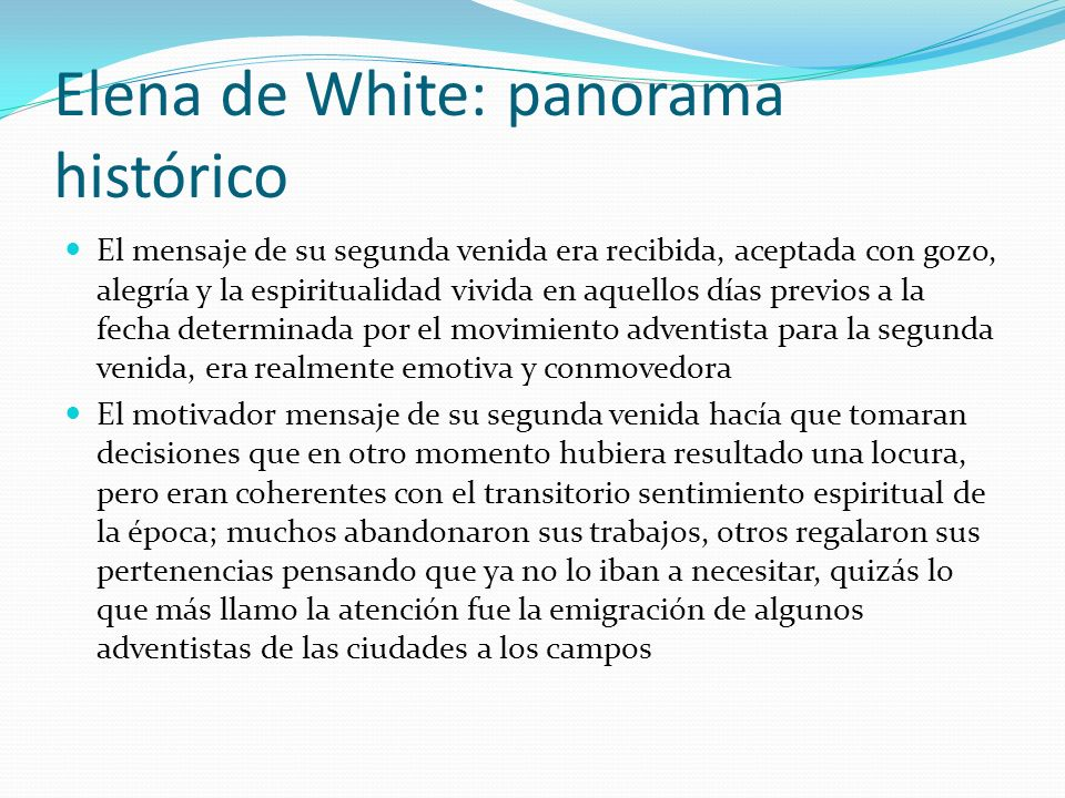 Elena de White: panorama histórico