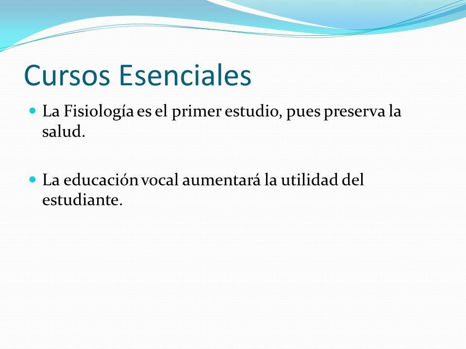 Cursos EsencialesLa Fisiología es el primer estudio, pues preserva la salud.