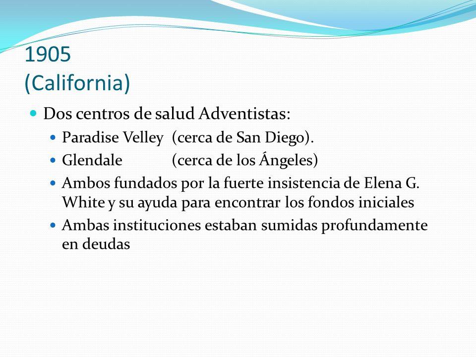 1905 (California) Dos centros de salud Adventistas: