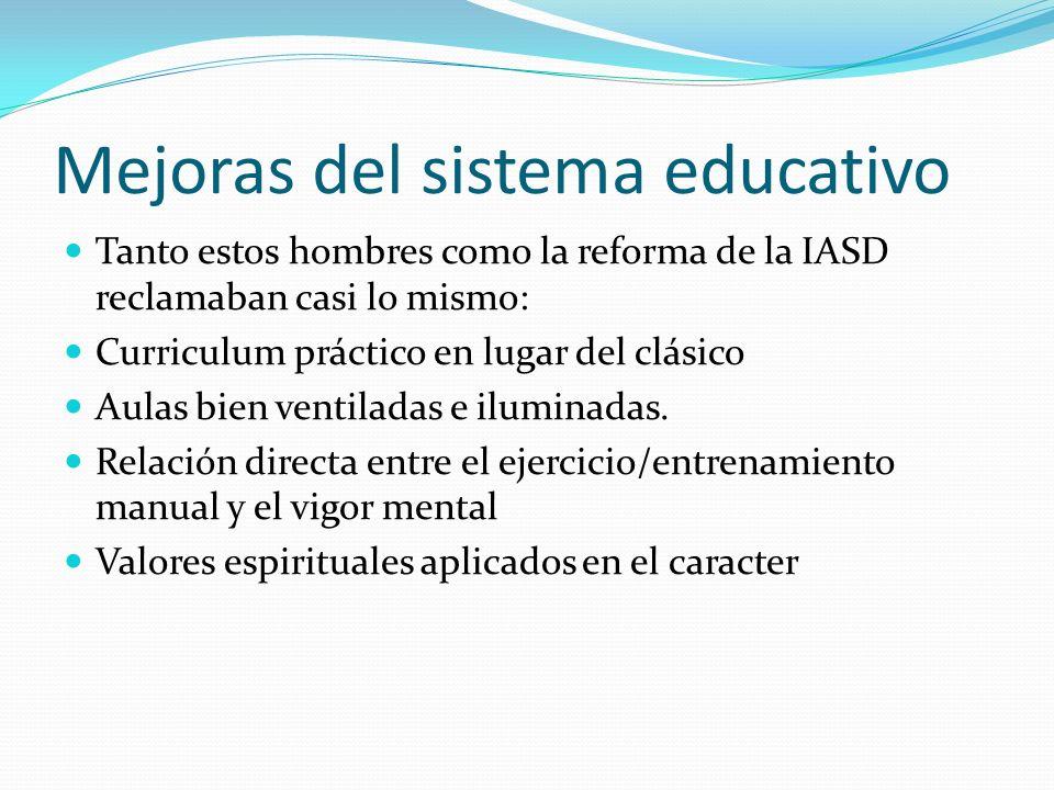 Mejoras del sistema educativo