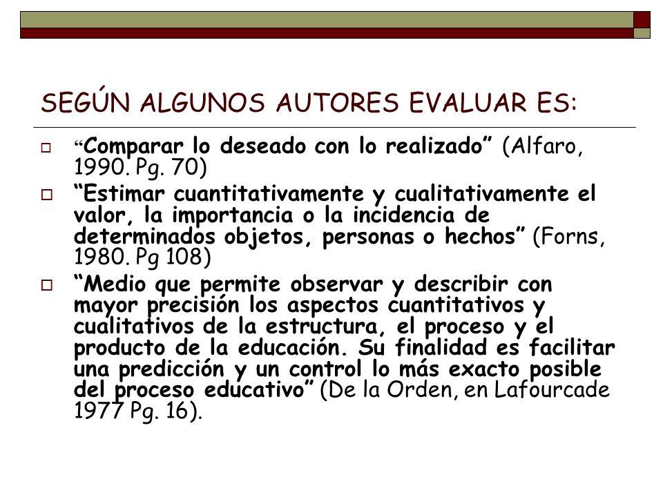 SEGÚN ALGUNOS AUTORES EVALUAR ES: