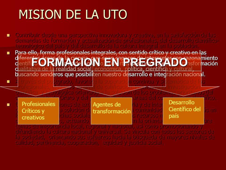 MISION DE LA UTO FORMACION EN PREGRADO