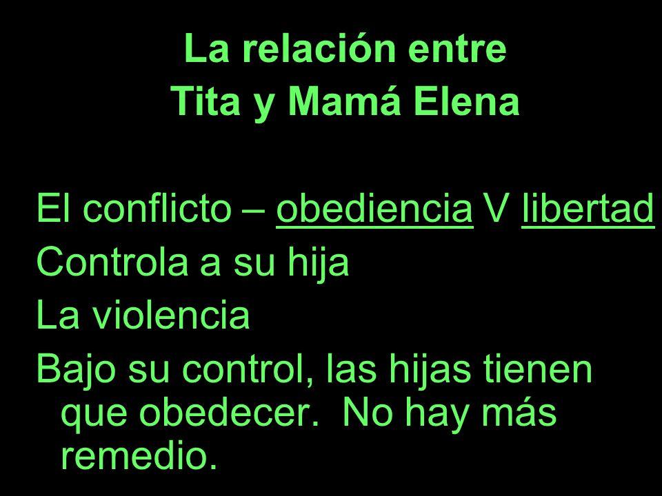 La relación entre Tita y Mamá Elena. El conflicto – obediencia V libertad. Controla a su hija. La violencia.