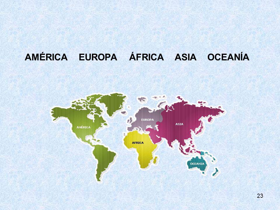 AMÉRICA EUROPA ÁFRICA ASIA OCEANÍA