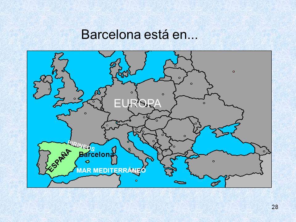 Barcelona está en... EUROPA ESPAÑA Barcelona MAR MEDITERRÁNEO PIRINEOS
