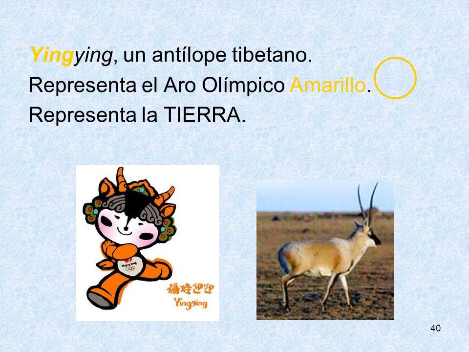 Yingying, un antílope tibetano. Representa el Aro Olímpico Amarillo.