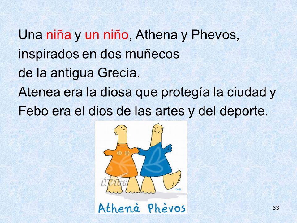 Una niña y un niño, Athena y Phevos, inspirados en dos muñecos