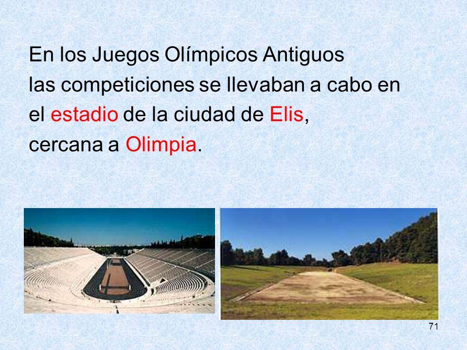 En los Juegos Olímpicos Antiguos