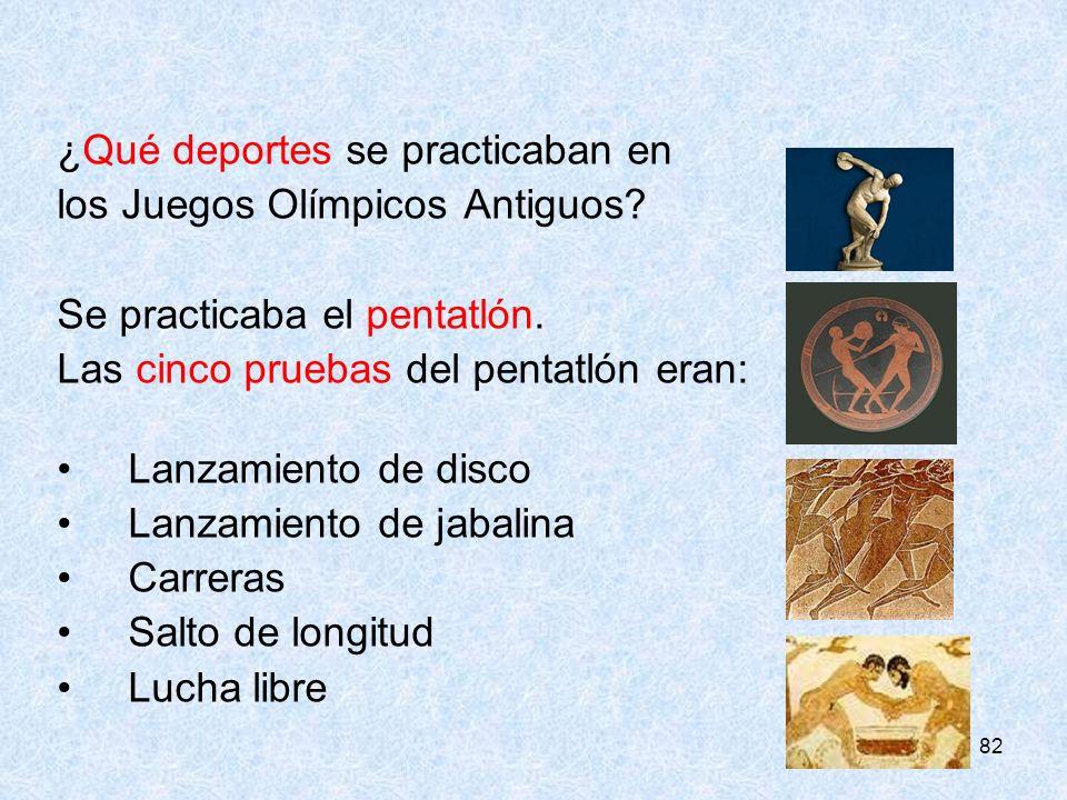 ¿Qué deportes se practicaban en los Juegos Olímpicos Antiguos
