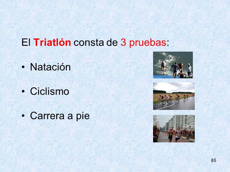 El Triatlón consta de 3 pruebas: Natación Ciclismo Carrera a pie