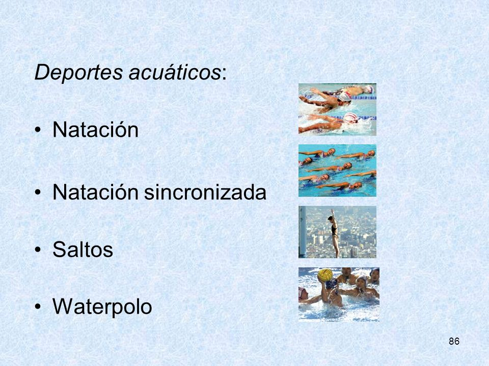 Natación sincronizada Saltos Waterpolo