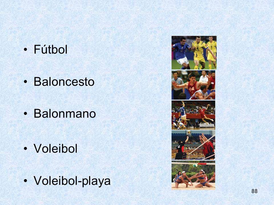 Fútbol Baloncesto Balonmano Voleibol Voleibol-playa