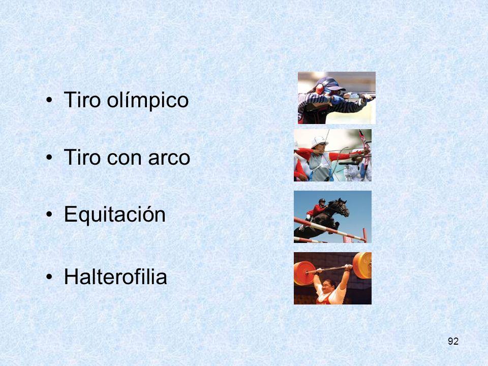 Tiro olímpico Tiro con arco Equitación Halterofilia