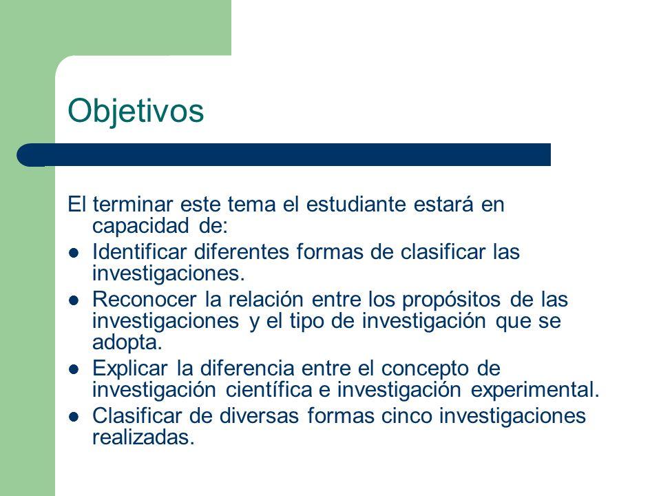 Objetivos El terminar este tema el estudiante estará en capacidad de:
