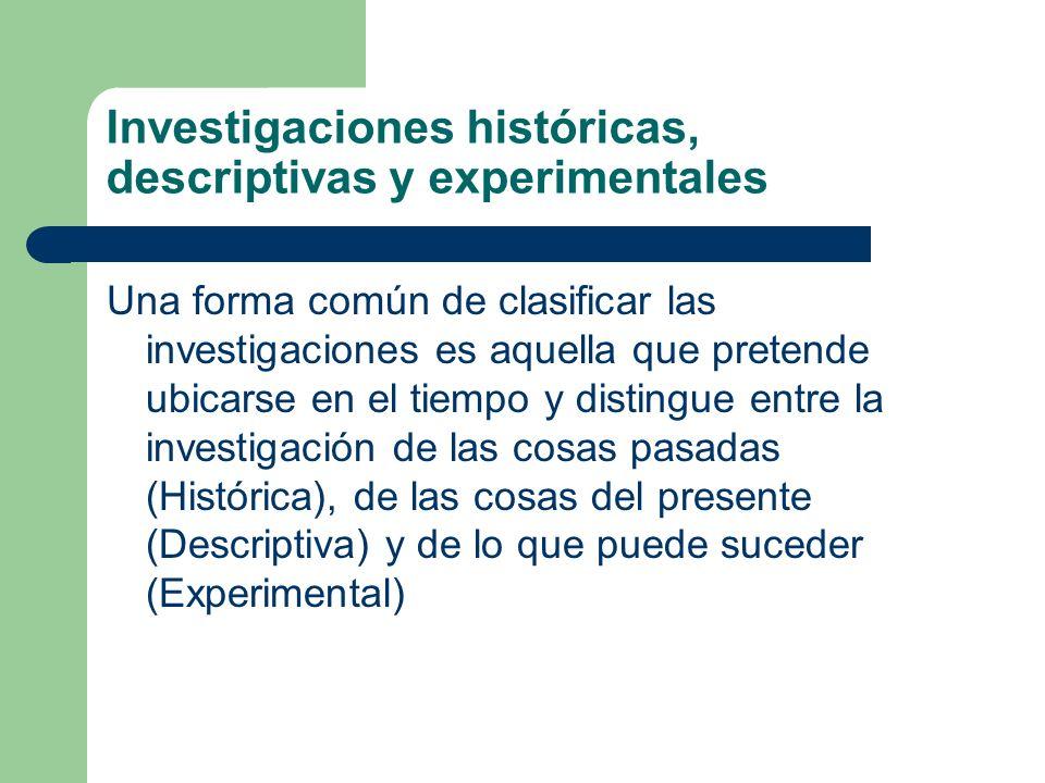 Investigaciones históricas, descriptivas y experimentales