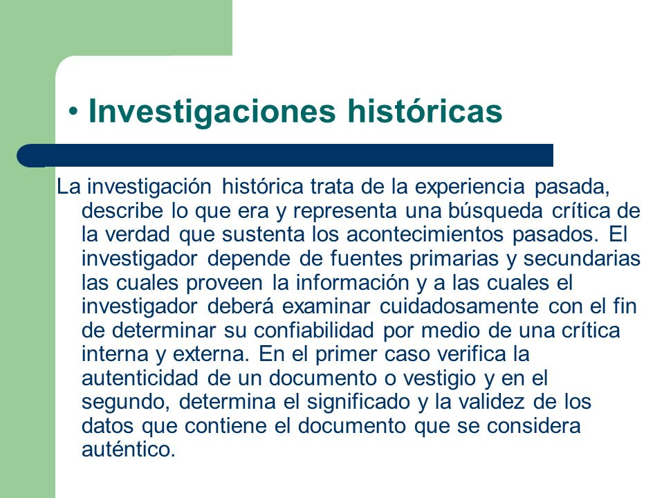 Investigaciones históricas