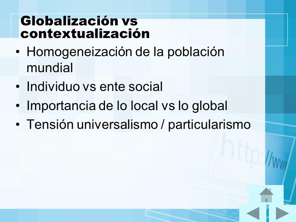 Globalización vs contextualización