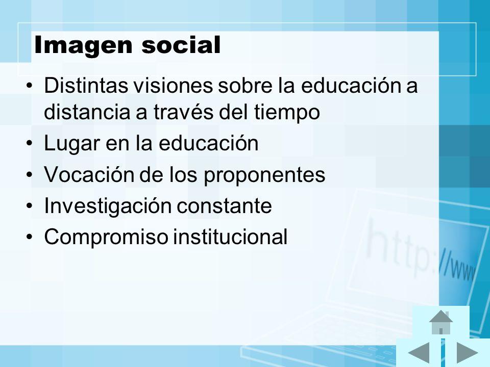 Imagen social Distintas visiones sobre la educación a distancia a través del tiempo. Lugar en la educación.