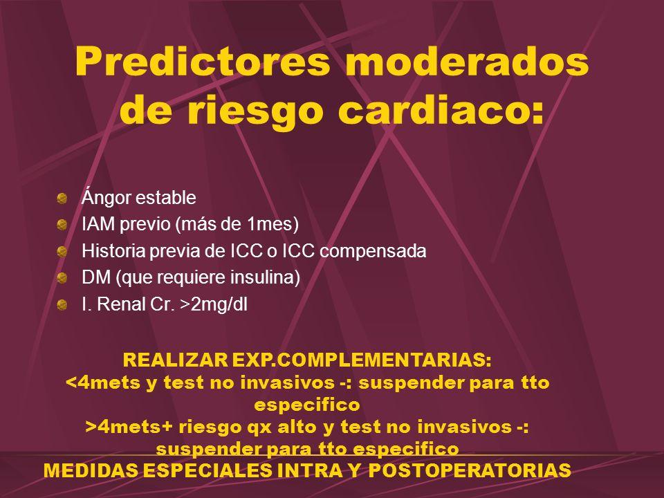 Predictores moderados de riesgo cardiaco: