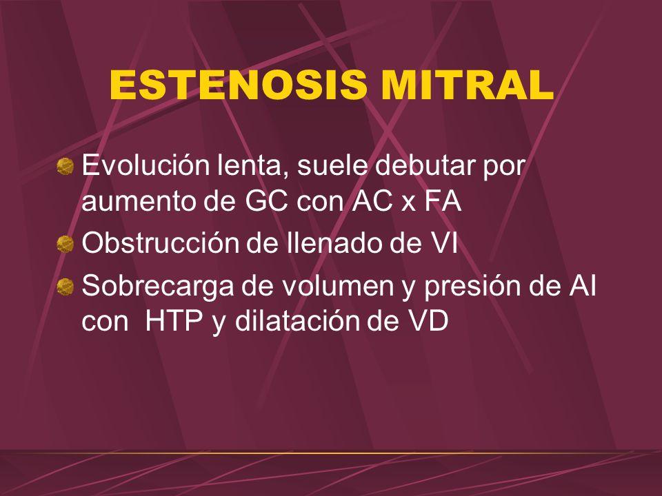 ESTENOSIS MITRAL Evolución lenta, suele debutar por aumento de GC con AC x FA. Obstrucción de llenado de VI.