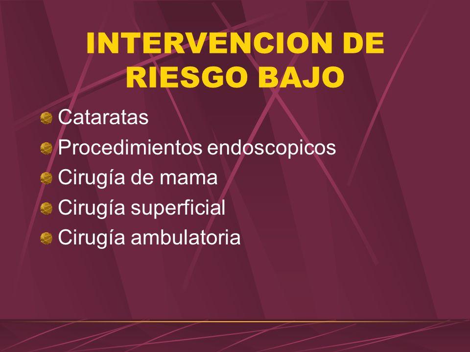 INTERVENCION DE RIESGO BAJO