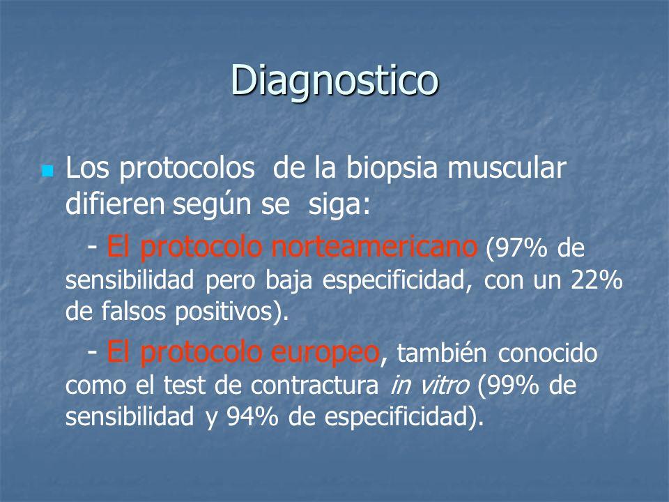 Diagnostico Los protocolos de la biopsia muscular difieren según se siga: