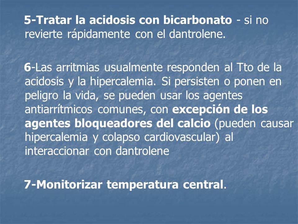 5-Tratar la acidosis con bicarbonato - si no revierte rápidamente con el dantrolene.