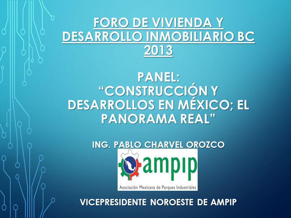 FORO DE VIVIENDA Y DESARROLLO INMOBILIARIO bc 2013 Panel: construcción y desarrollos en México; el panorama real ing.