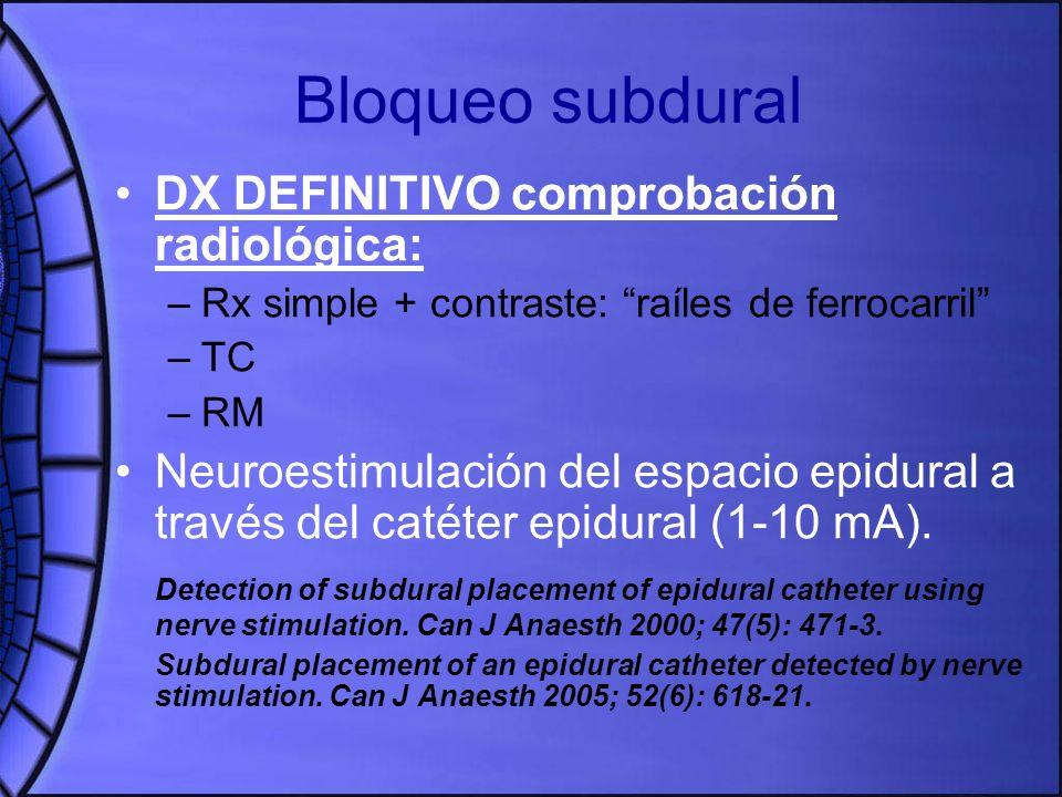 Bloqueo subdural DX DEFINITIVO comprobación radiológica: