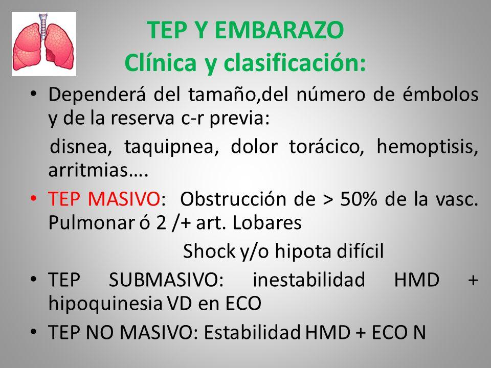 TEP Y EMBARAZO Clínica y clasificación: