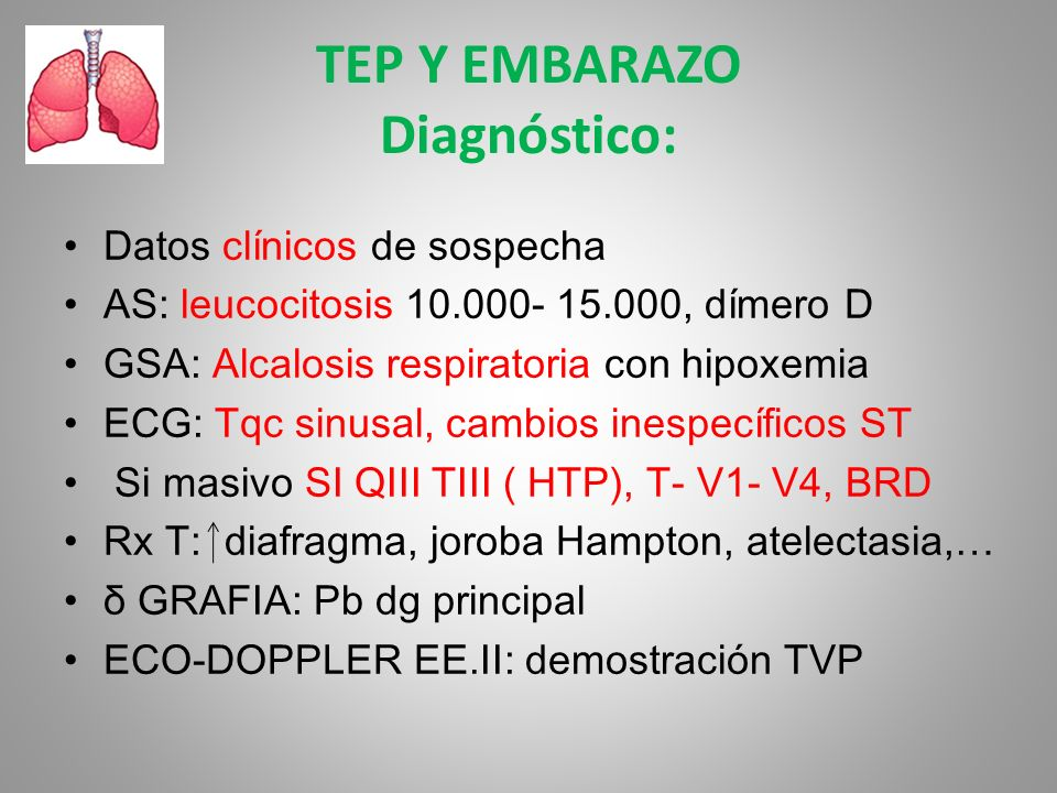 TEP Y EMBARAZO Diagnóstico: