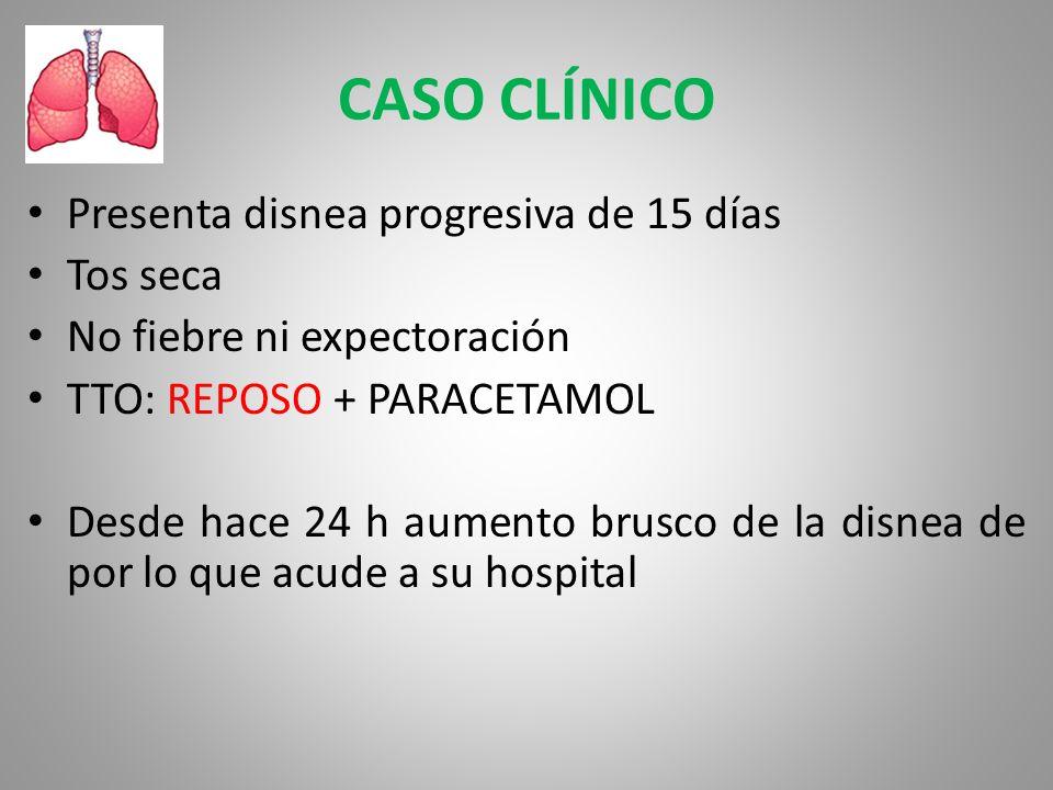 CASO CLÍNICO Presenta disnea progresiva de 15 días Tos seca