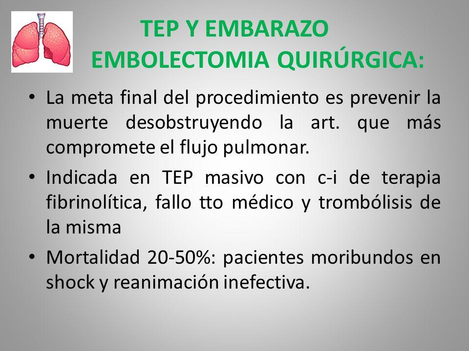 TEP Y EMBARAZO EMBOLECTOMIA QUIRÚRGICA: