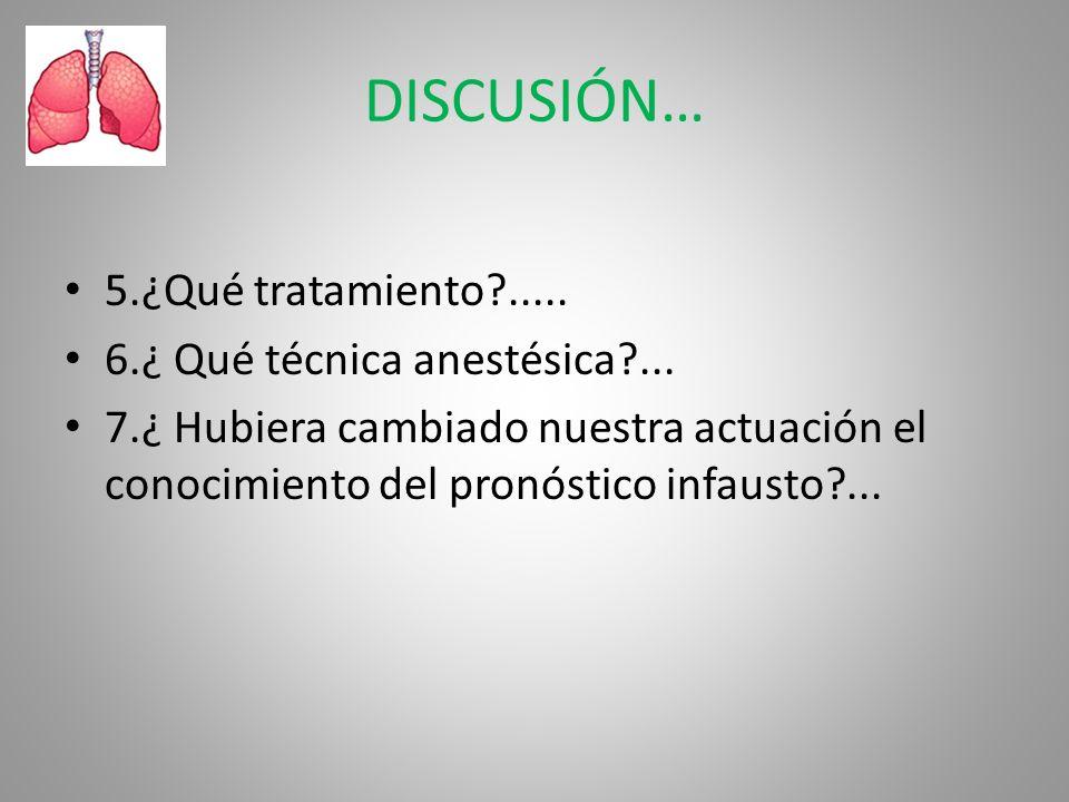 DISCUSIÓN… 5.¿Qué tratamiento ..... 6.¿ Qué técnica anestésica ...