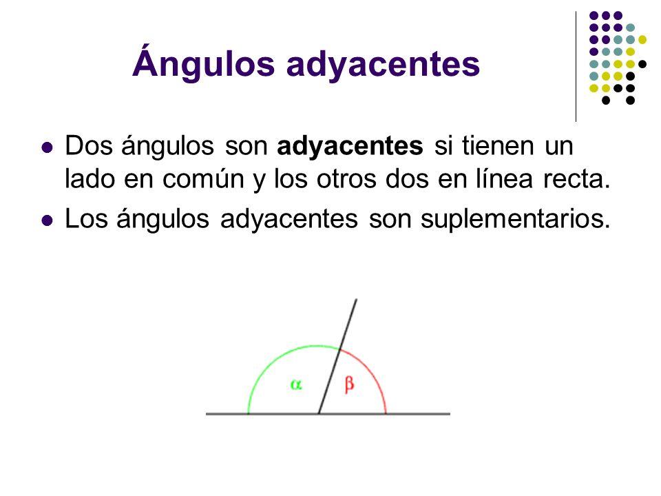 Ángulos adyacentesDos ángulos son adyacentes si tienen un lado en común y los otros dos en línea recta.