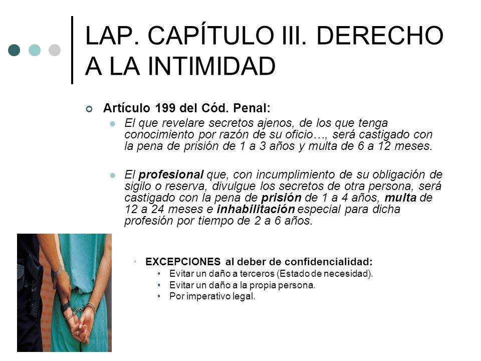 LAP. CAPÍTULO III. DERECHO A LA INTIMIDAD