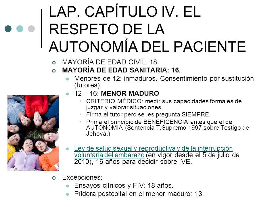 LAP. CAPÍTULO IV. EL RESPETO DE LA AUTONOMÍA DEL PACIENTE