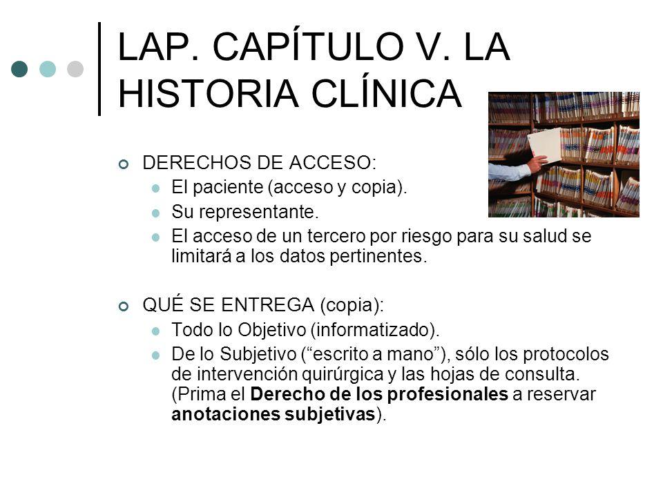 LAP. CAPÍTULO V. LA HISTORIA CLÍNICA