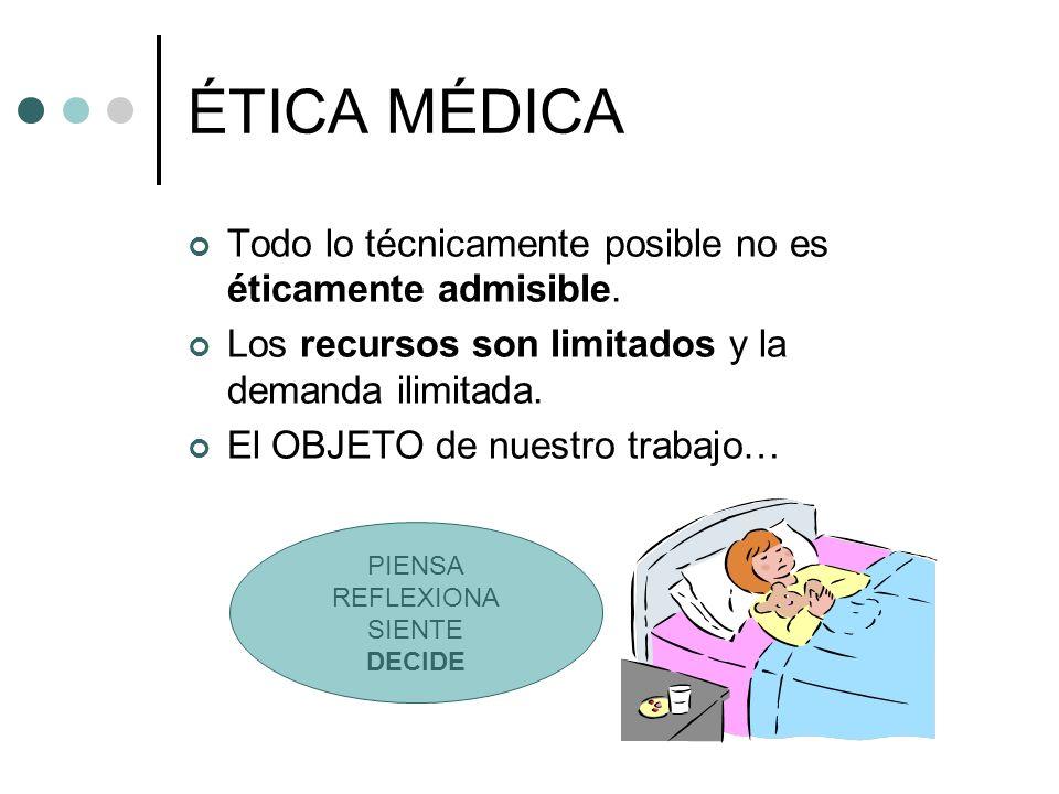ÉTICA MÉDICA Todo lo técnicamente posible no es éticamente admisible.